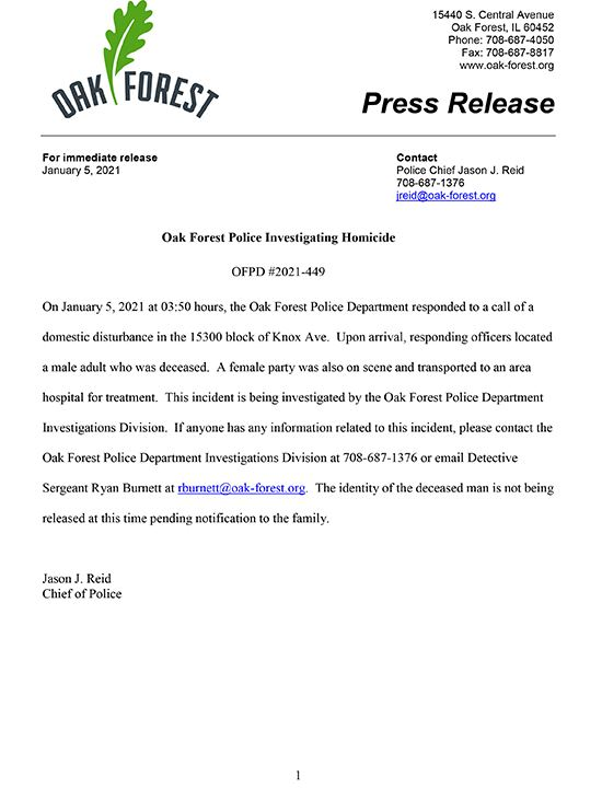 Oak Forest Press Release 1-5-2021
